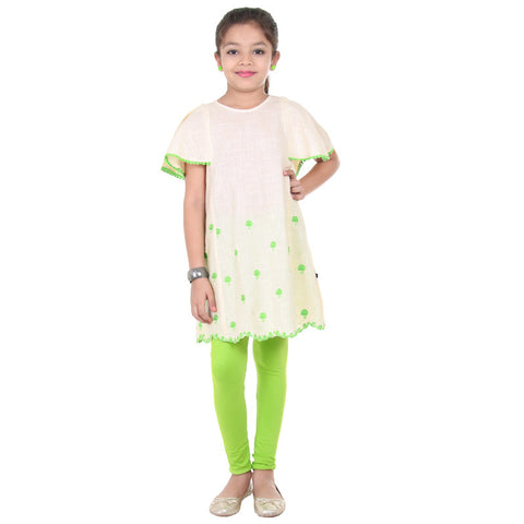 eSTYLe Girls Cloud Cream White With Green Embroidered Hem-Line Frock