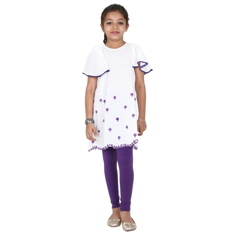 Bright White Cute Butterfly Sleeves Frock From eSTYLe Girls