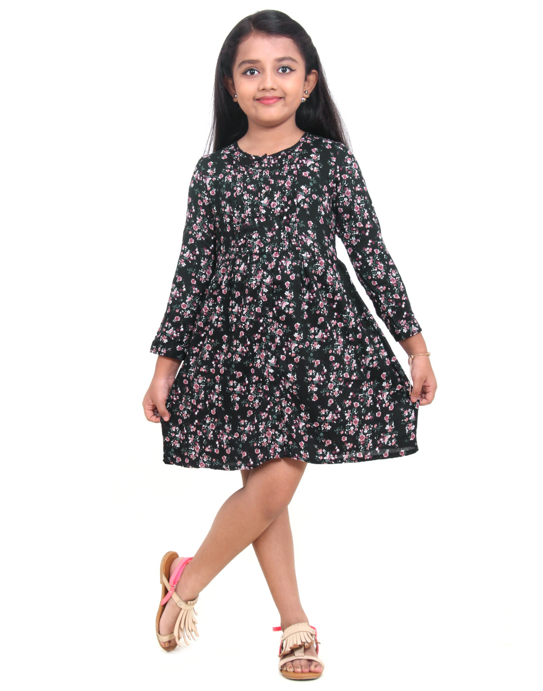 Stretch Limo Rayon Frock for Girls