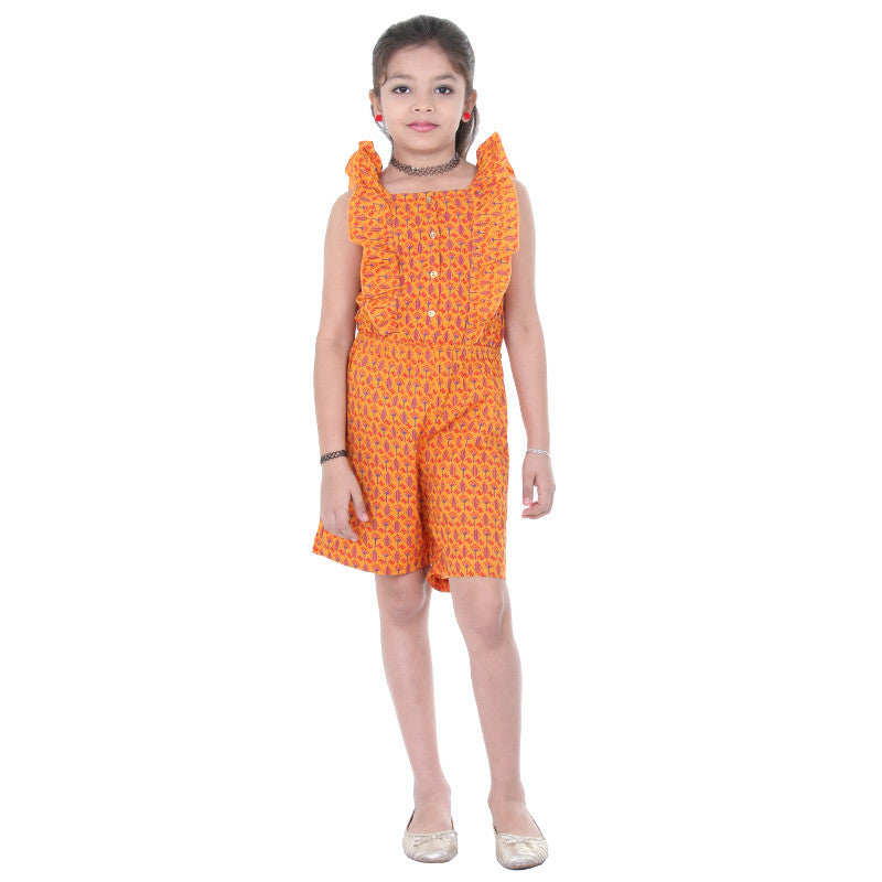 eSTYLe Girls Dark Cheddar Charmy Prints With Buttoned Placket Casual JumpSuit