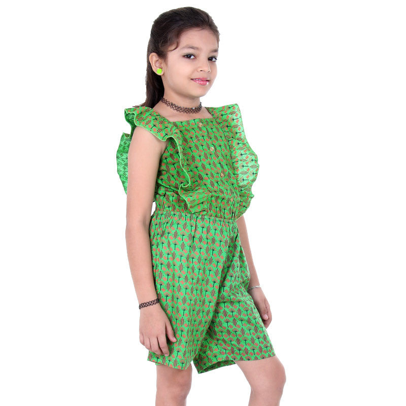 eSTYLe Girls Classic Green Elasticated WaistBand With Buttoned Placket JumpSuit