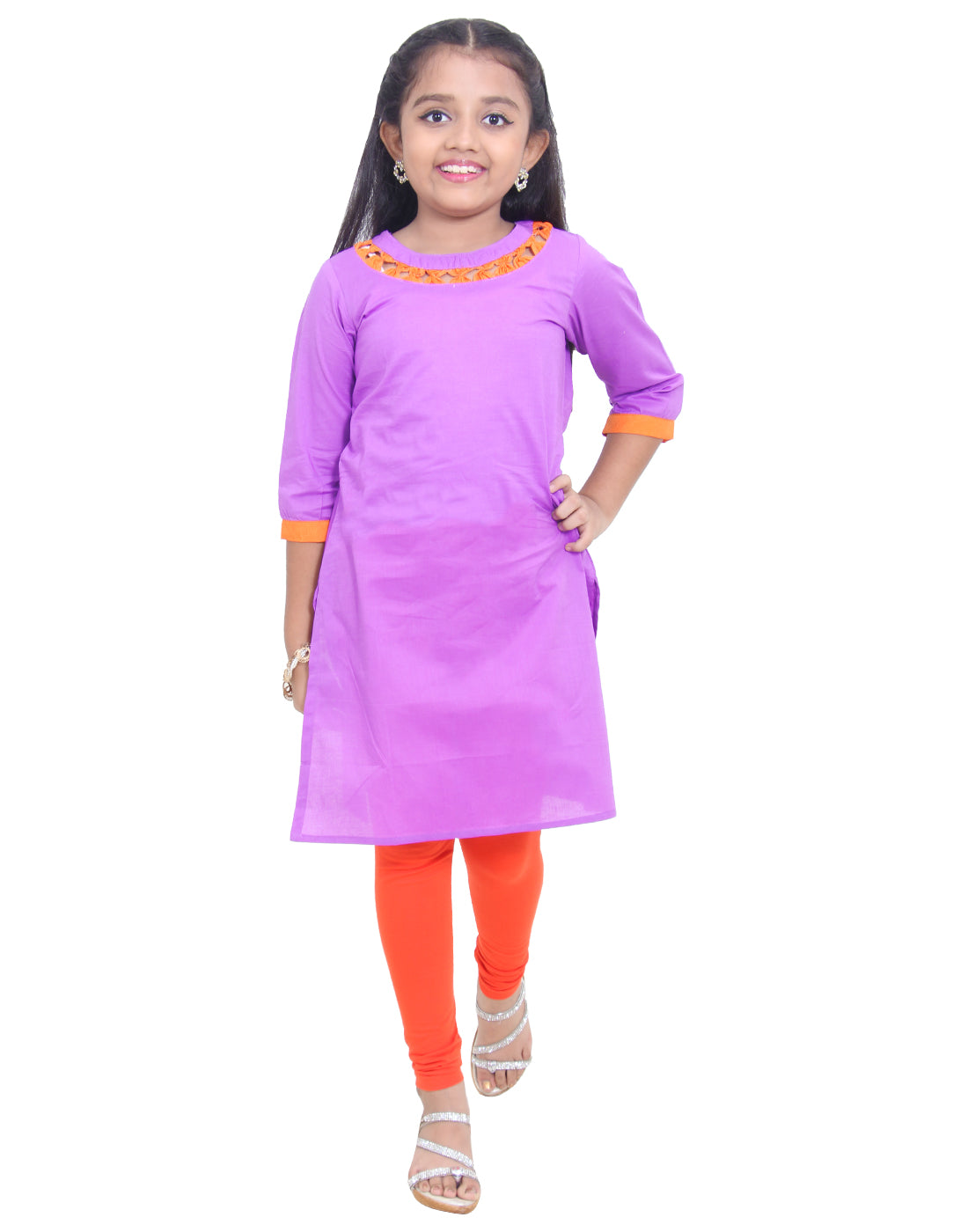 Amethyst Orchid Cotton Straight-Cut Kurta for Girls