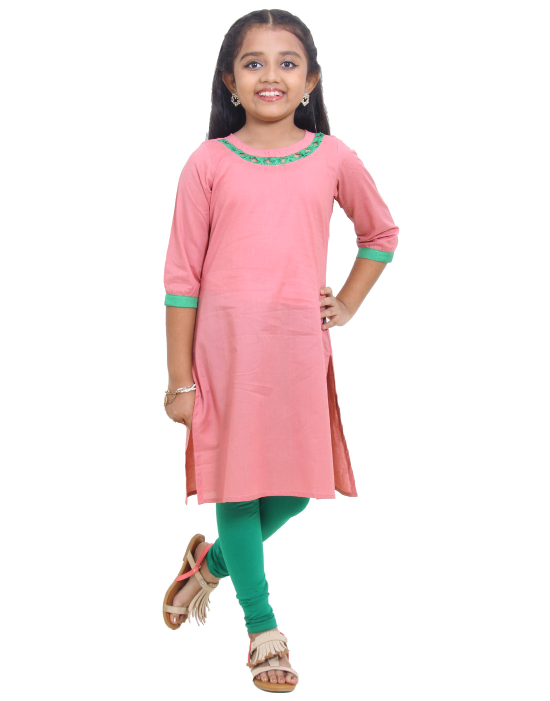 Brandied Apricot Cotton Straight-Cut Kurta for Girls