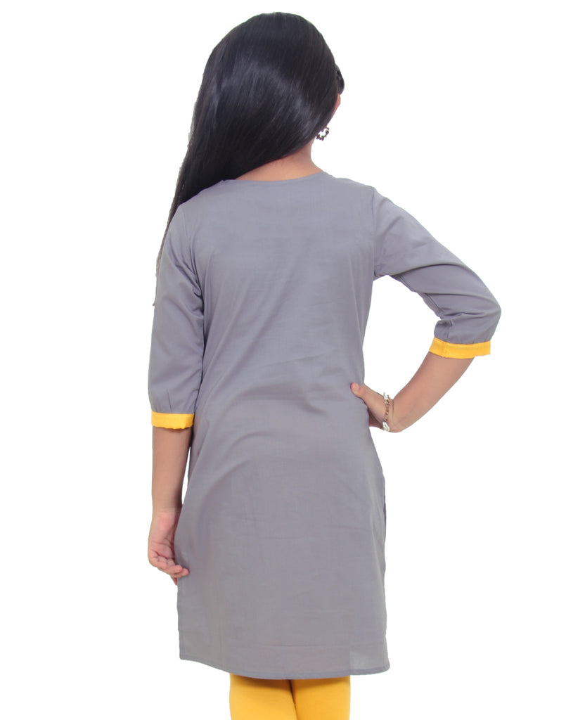 Frost Gray Cotton Straight-Cut Kurta for Girls
