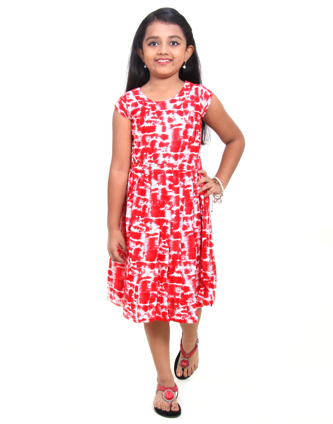 Tango Red Party Wear Dress For Girls