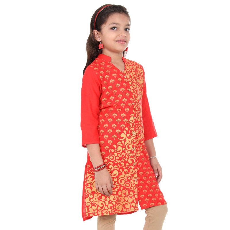 Poinsettia Red & Golden Floral Printed Design Kurta From eSTYLe Girls