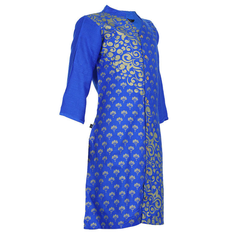 eSTYLe Girls Ink Blue Open Buttoned Placket Ethnic Wear Kurta