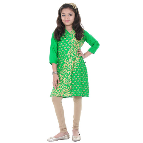 Jelly Bean Green Three-Quarter Sleeves & Floral Prints Kurta From eSTYLe Girls