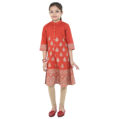 eSTYLe Girls Paprika Maroon Eye Catching Floral Prints Cotton Anarkali