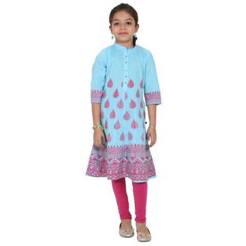 Crystal Blue Leaf Motif With Mandarin Neck Anarkali From eSTYLe Girls