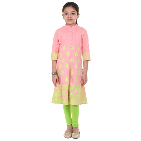 eSTYLe Girls Baby Pink N' Lime Punch Leaf Motifs Cotton Anarkali