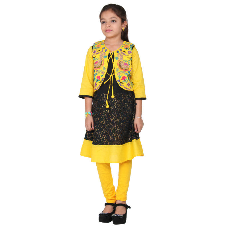 eSTYLe Girls Pirate Black Cotton Anarkali With Golden Rod Yellow Embroidered Coat