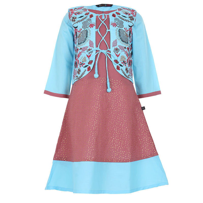 eSTYLe Girls Deco Rose Cotton Anarkali With Blue Embroidered Work Stylish Coat