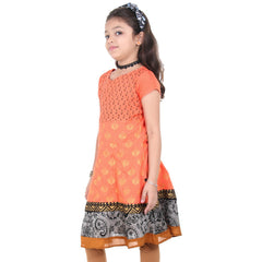 Deep Peach Ethnic Motif Prints Astonishing Anarkali From eSTYLe Girls
