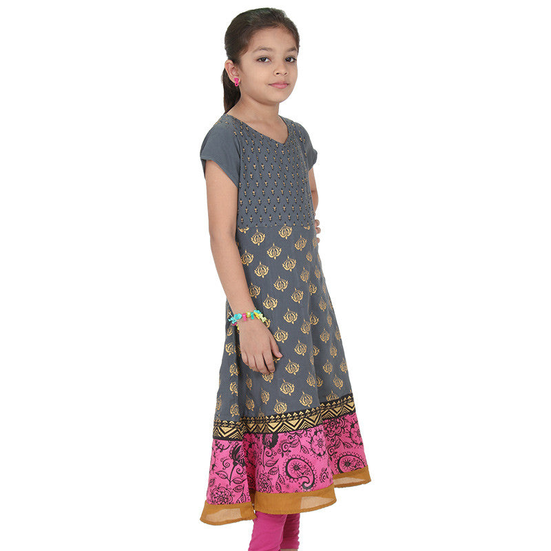 Frost Grey Ethnic Motif Prints Astonishing Anarkali From eSTYLe Girls
