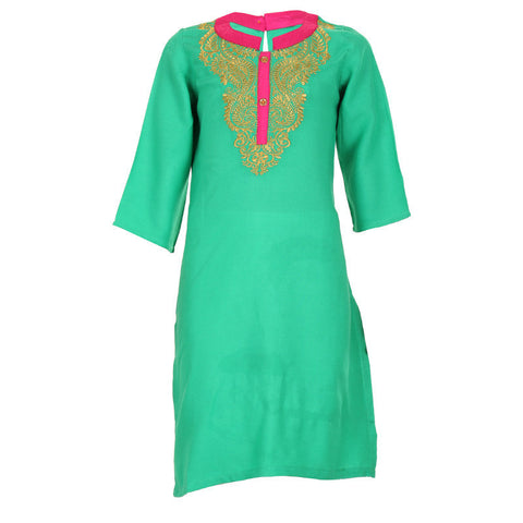 eSTYLe Girls Peacock Green With Golden Embroidered Designed Rayon Kurta