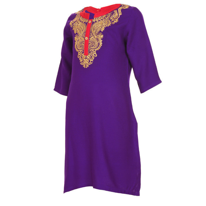 Deep Lavender Beautiful Embroidered Kurta With Placket From eSTYLe Girls