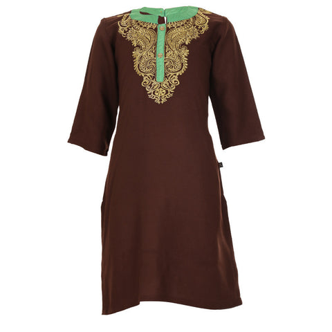 eSTYLe Girls Cappuccino Brown Stand Collar & Three-Quarter Sleeves Rayon Kurta