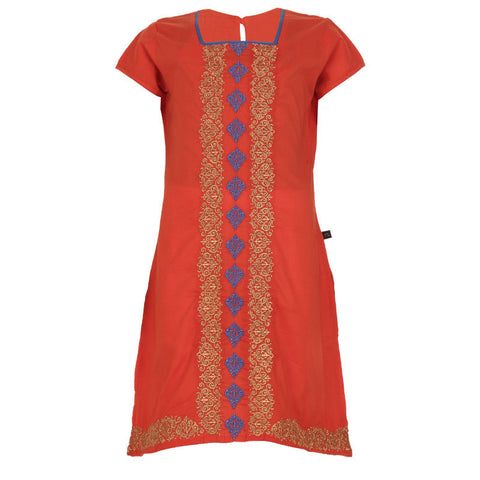 eSTYLe Girls Peppy Orange Elegant Embroidered Little Princess Kurta