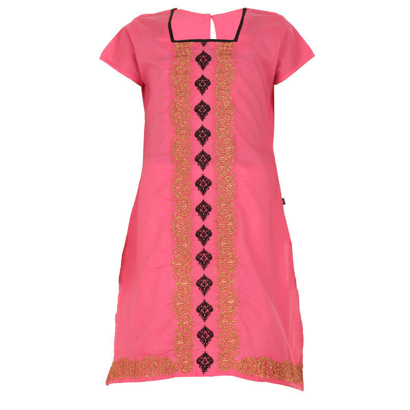 Barbie Pink With Golden Floral Embroidered Cotton Kurta From eSTYLe Girls