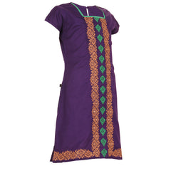 eSTYLe Girls Imperial Palace Violet Floral Embroidered Cotton Kurta