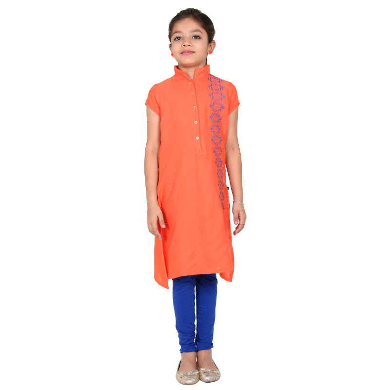 eSTYLe Girls Living Coral Orange Stand Collar With Buttoned Placket Rayon Kurta