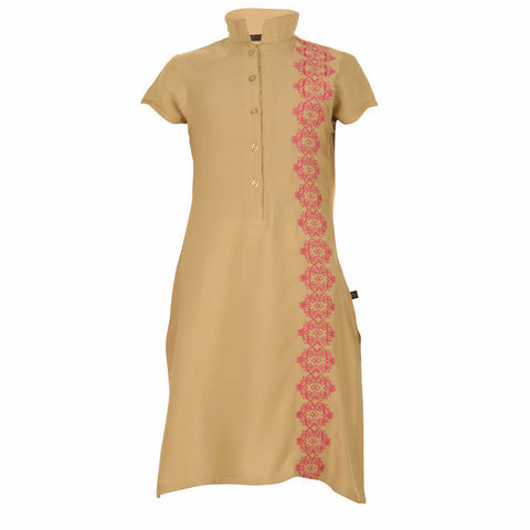 eSTYLe Girls Croissant Beige With Contrast Pink Embroidered Rayon Kurta