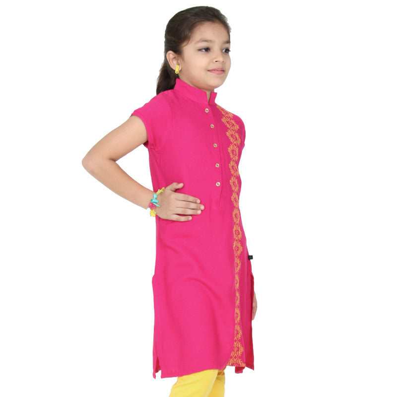 Beetroot Purple With Embroidered Side Panels Rayon Kurta From eSTYLe Girls