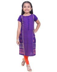 Royal Blue Ethnic Charm Prints Straight-Cut Kurta For Girls