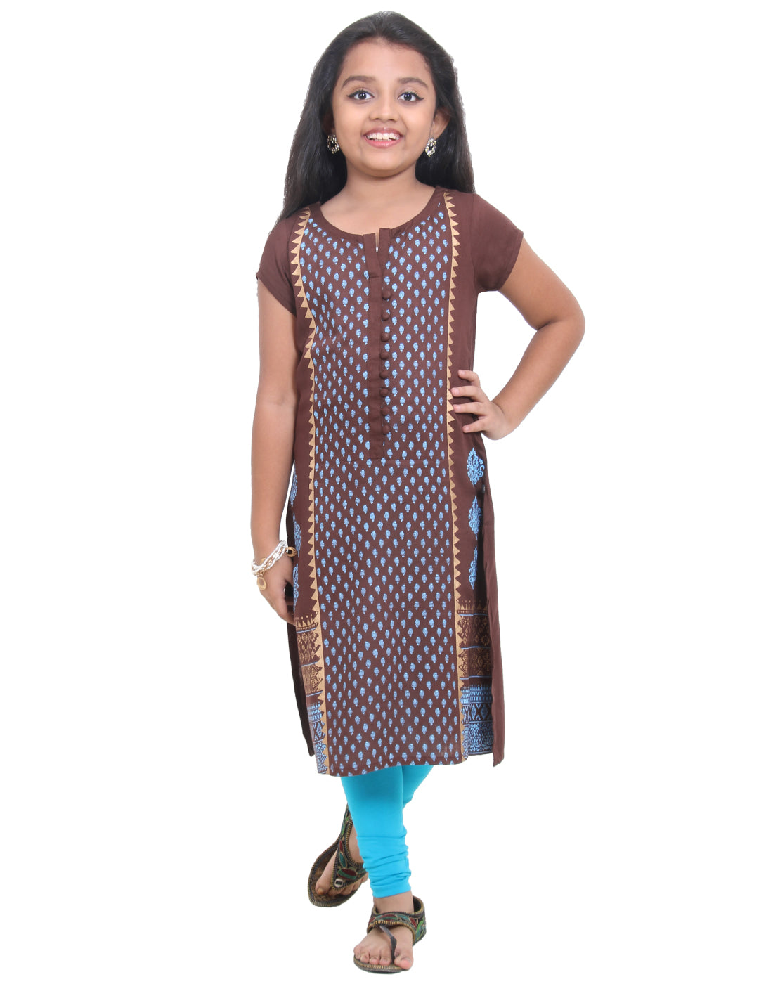 Andorra Brown Ethnic Charm Prints Straight-Cut Kurta For Girls