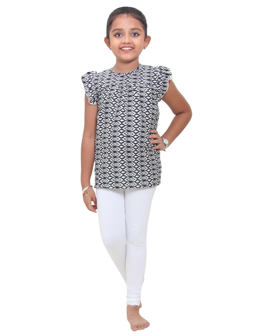 Monochrome Printed Polyester Girls Top