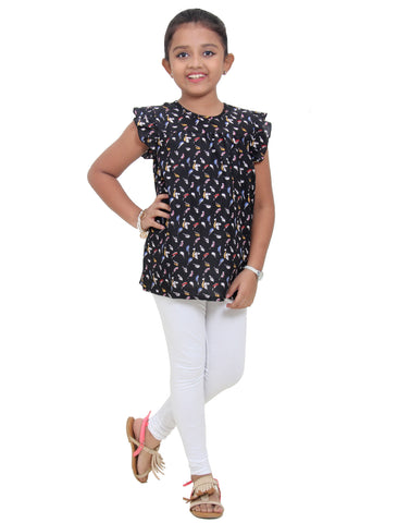 Jet Black Printed Polyester Girls Top