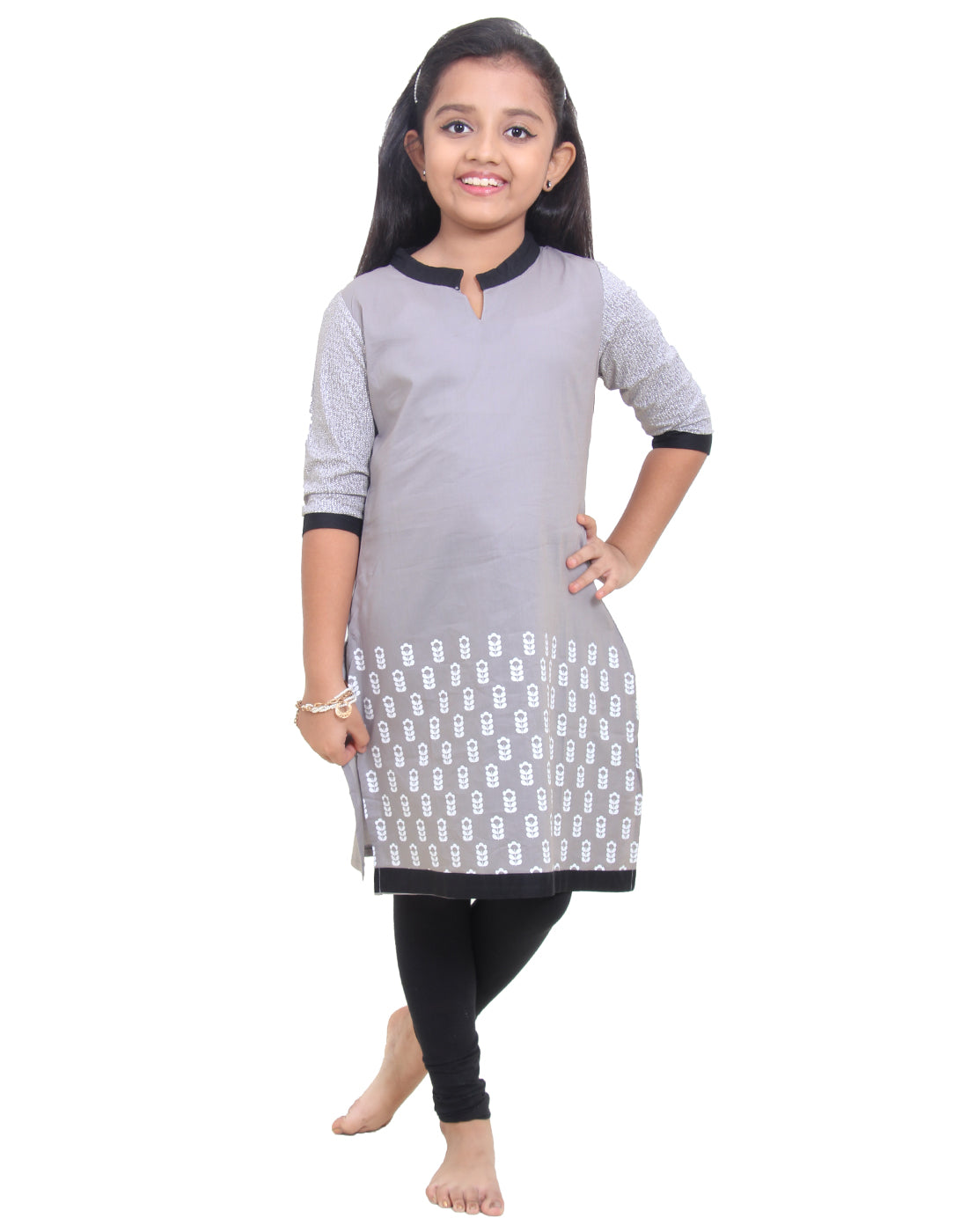 Frost Gray Printed Cotton Kurta for Girls