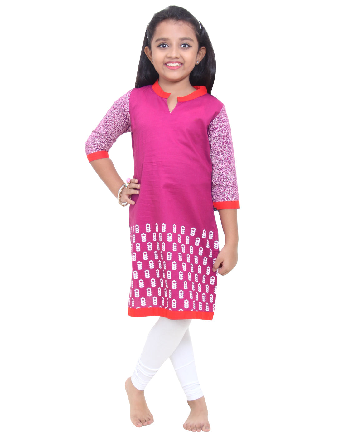 Fuschia Red Printed Cotton Kurta for Girls