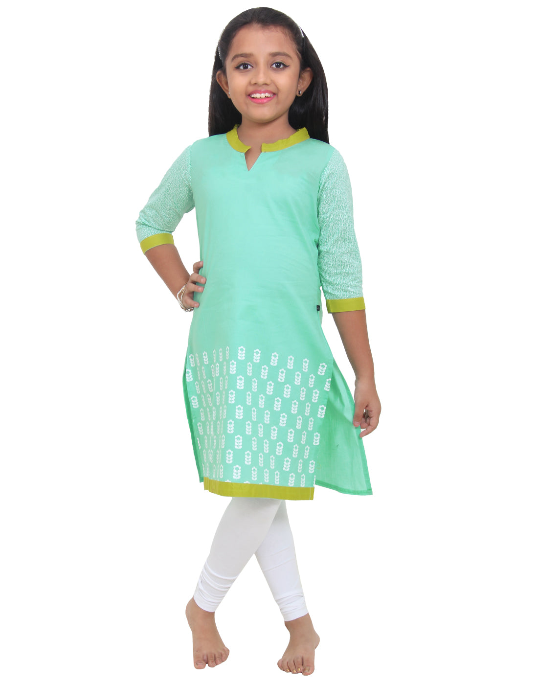 Cabbage Green Printed Cotton Kurta for Girls