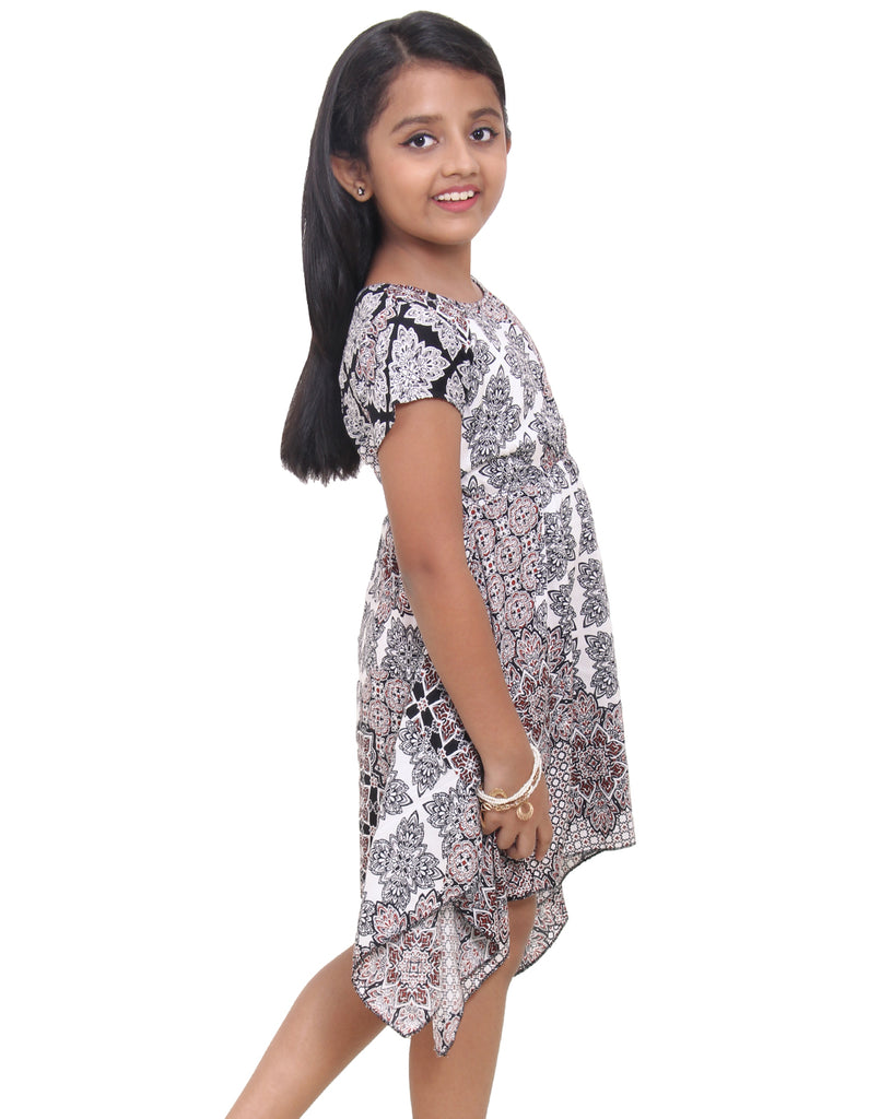 Multicoloured Printed Rayon Frock for Girls