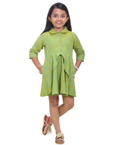 Green With Yellow Cotton Party Wear Frock