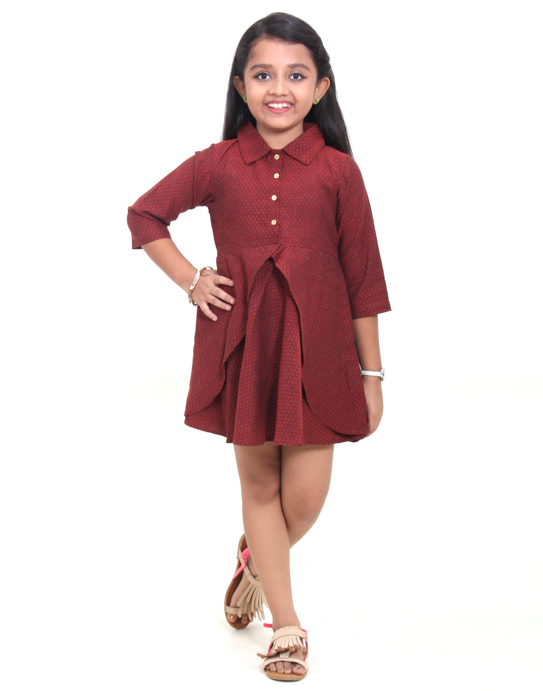 Maroon With Black Cotton Party Wear Frock