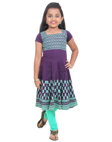 eSTYLe Girls Grape Royale Printed Anarkali