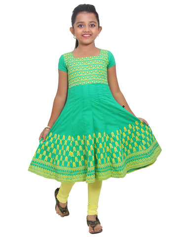 eSTYLe Girls Deep Mint Printed Anarkali