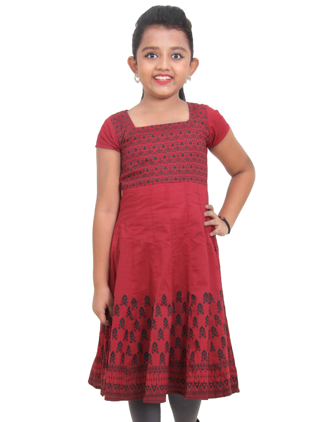 eSTYLe Girls Lipstick Red Printed Anarkali