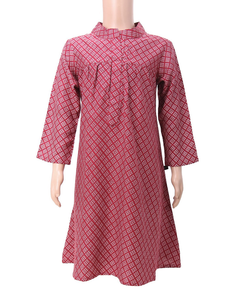 Maroon Rayon Frock for Girls