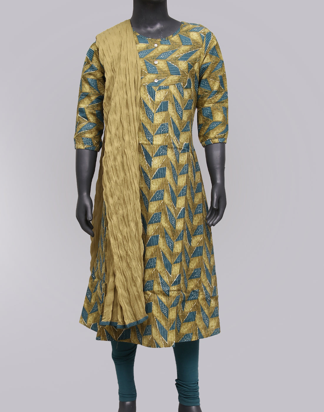 Amber Green Kantha Work Salwar Suit For Girls