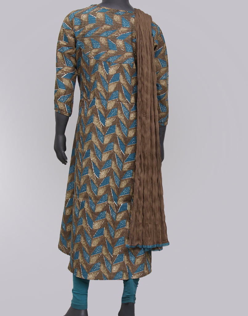 Major Brown Kantha Work Salwar Suit For Girls