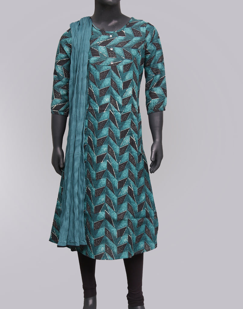 Harbor Blue Kantha Work Salwar Suit For Girls