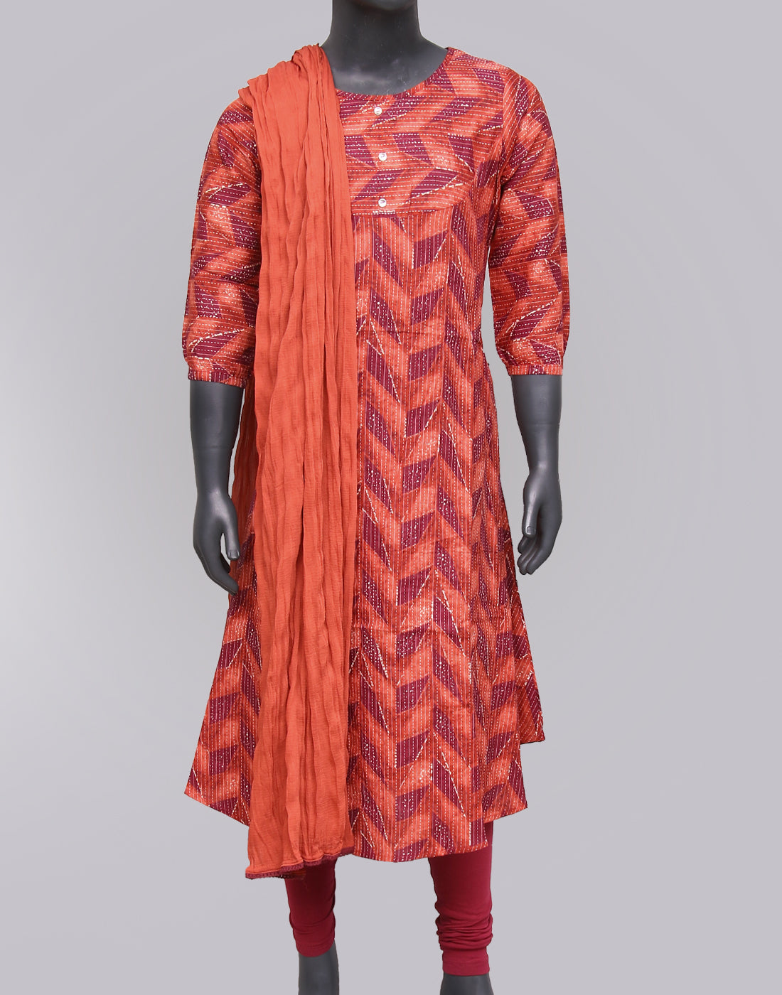 Chinese Red Kantha Work Salwar Suit For Girls