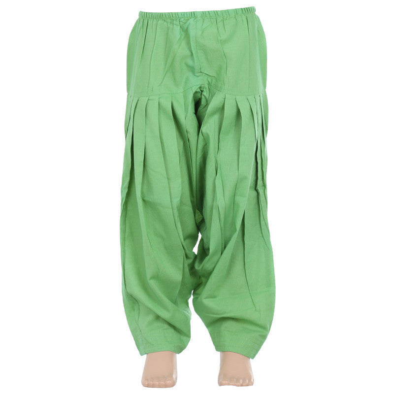 Light Grass Green Pure Cotton Patiala From eSTYLe Girls