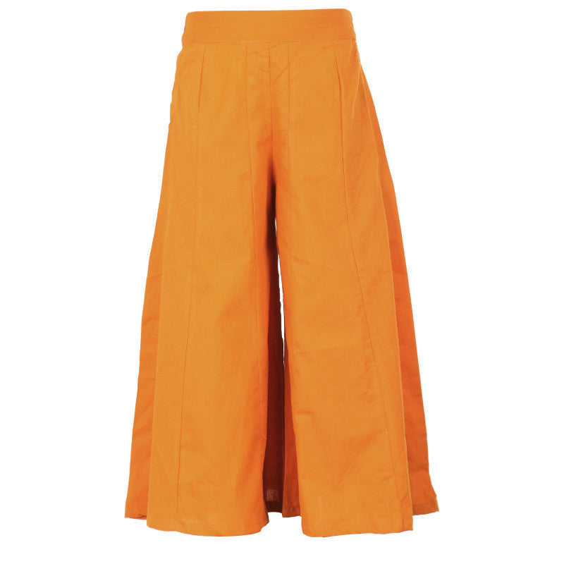 AmberGlow Orange Solid Pattern Pure Cotton Palazzo Pant From eSTYLe Girls