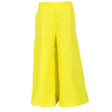 eSTYLe Girls Blazing Yellow Colour Solid Pattern Pure Cotton Palazzo Pant