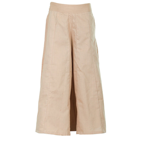 Toast Brown Solid Pattern Pure Cotton Trendy Palazzo Pant From eSTYLe Girls
